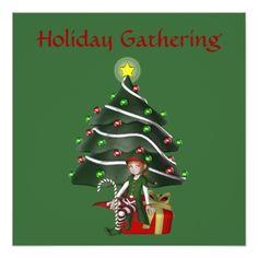Christmas Girl Elf Tree Holiday Party Invitation