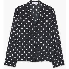 Polka-Dot Print Shirt (1.410 RUB) ❤ liked on Polyvore featuring tops, blouses, fancy, shirts, polka dot shirts, mango tops, extra long sleeve shirts, polka dot long sleeve shirt and long sleeve shirts