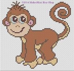 Monkey  Cross Stitch Pattern by MakerMini on Etsy, $4.50