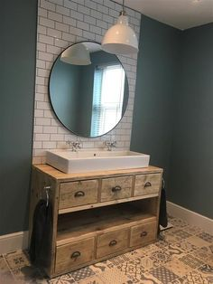 We all know Amazing Home design is really suitable for our Home. You can learn from our article Beautiful Bathroom Mirror Ideas to Shake Up Your Morning Lipstick (Trendy Pictures) and get some ideas for your Home Design. Bathroom Sink Units, Bathroom Mirrors, Basement Bathroom, Bathroom Cabinets, Bathroom Pics, Framed Mirrors, Blue Bathroom Tiles, Morrocan Bathroom, Trough Sink Bathroom