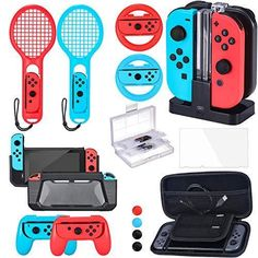 Zadii Accessories Bundle Compatible with Nintendo Switch Accessories Kit with Tennis Racket Steering Wheel Joy-con Grip Charging Dock Carrying Case and Screen Protector Gaming Router, Diy Router, Modem Router, Router Table, Router Bits, Console Style, Nintendo Switch Case, Best Gaming Setup, Nintendo Switch Accessories