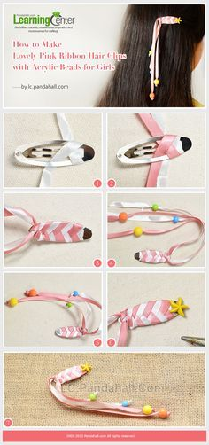 How to make lovely pink ribbon hair clips with acrylic beads for girls ribon crafts, Ribbon Hair Clips, Hair Ribbons, Diy Hair Bows, Ribbon Bows, Diy Hair Clips, Pink Ribbons, Ribbon Flower, Ribbon Barrettes, How To Make Hair