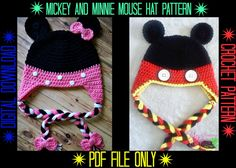 Mickey & Minnie Mouse Hat Crochet Pattern by YarnCreationsGalore