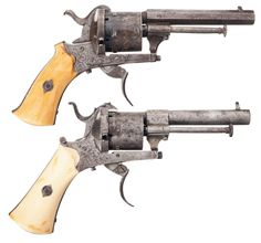 Collector's Lot of Two Pinfire Revolvers -A) Inlaid Belgian Pinfire Revolver with Ivory Grips
