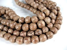 10 Natural wood Beads - Round coconut Beads 11mm  (PC228)