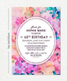purple watercolor 60th birthday party invitation by hueinvitations
