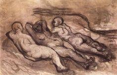 Trois femmes nues couchées, Honoré Daumier