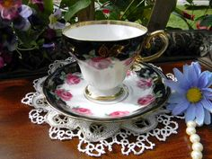 Japanese Norcrest Teacup and Saucer  Black by TheVintageTeacup