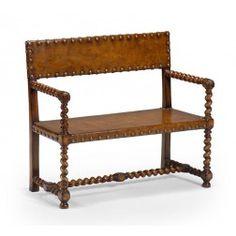 Jonathan Charles Tudor Style Walnut Leather Bench