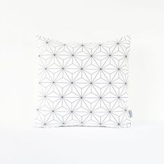 White Scandinavian Pillow Cover featuring 3D Geometric Pattern in Black Triangles on White Background