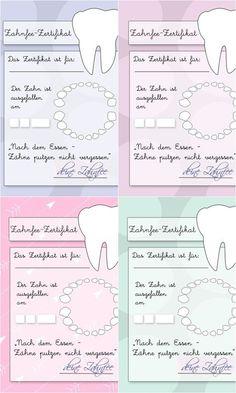Zahnfee Urkunde zum Ausdrucken Free - Printable Kinder, Zahnfeezertifikat