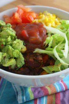 Mexican Rice Bowl~ A simple recipe full of fresh yummy goodness.  /  thepearandthepurplepeach.com