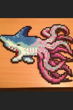 Sharktopus Perler Hama Melty Fuse Beads