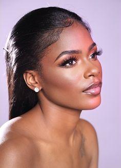 Flawless Skin Makeup, Dark Skin Makeup, Natural Makeup, Beautiful Dark Skinned Women, Beautiful Black Women, Beauty Makeup, Hair Beauty, Full Makeup, Glam Photoshoot