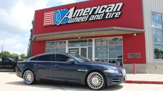 Forgiato Andata Wheels in Tinted Brushed with Chrome Lip on a Jaguar XJ. 22x9 front with 245/30-22 tires and 22x10.5 rear with 295/25-22 tires.  http://www.americanwheelandtire.com/