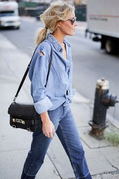 by Sania Claus Demina The blue shirt with blue jeans