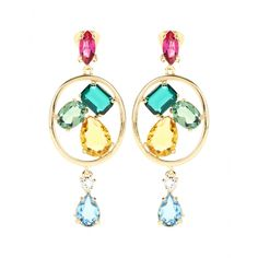 Oscar de la Renta - Crystal-embellished clip-on earrings - Oscar de la Renta suspends multicoloured crystals in gold-toned loops for an ultra-glam look. The clip-on earrings promise to up the sparkle factor of any ensemble. Style with your favourite LBD or go all out with a statement dress. seen @ www.mytheresa.com
