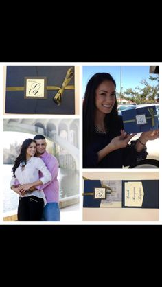 Pocket Wedding Invitation (Kathy) shown in cobalt blue and sage.  Custom colors available.  For more info contact: info@theinviteonline.com
