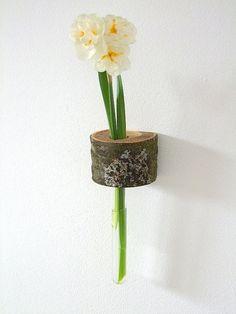 Wood vase branch vase tree vase vase wall vase by Holzmann on Etsy