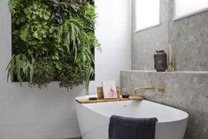 Vertical gardens 774619204642118260 - the block 2018 bathroom reveals hayden and sara bathroom with vertical garden wall Source by greenheartgreensoul Plant Wall, Plant Decor, The Block Bathroom, Botanical Interior, Botanical Bathroom, Cottage Style Bathrooms, Vertical Garden Design, Vertical Gardens, Bathroom Plants