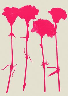 Carnations_Pink - Art Print by Garima Dhawan This is simple yet pretty. I love how the hot pink pops.