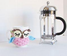 Crochet Owl Coffee Mug Cozy Coffee Cup by LoveandPetFurCrochet