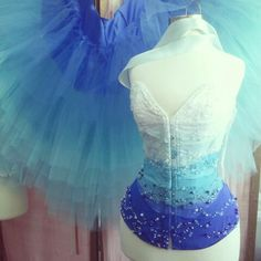 Blue and White and aqua ombre corset and tulle skirt,  production well underway by Corsets by Nasty Ginny.