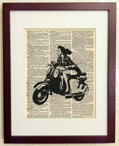 Items similar to Vespa Scooter Woman- Art Print on Vintage Antique Dictionary Paper - Italian Scooter on Etsy Scooter Store, Italian Scooter, Vespa Scooters, Female Art, Volleyball, Vintage Antiques, Art Prints, Easy, Inspiration