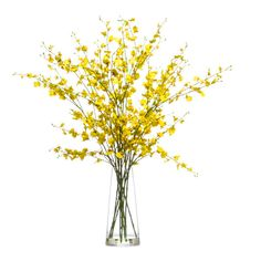 Lux Art Silks Yellow Oncidium Faux Flower Arrangement 275 Liked On Polyvore Featuring