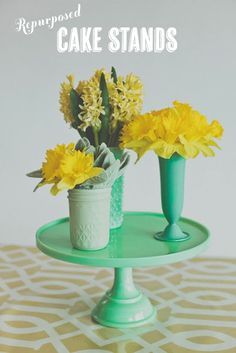 Repurposed cake stands | At Home in Love