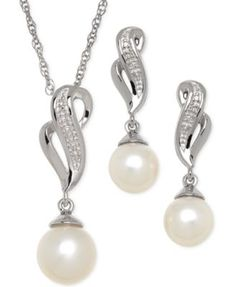 Cultured Freshwater Pearl (7-8mm) and Diamond Accent Jewelry Set in Sterling Silver