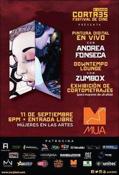 Esta noche en MUA Pintura Digital en Vivo con Andrea Fonseca, Música. Downtempo/Lounge con ZUMBOX y una Sesión de Cortometrajes.*Cortos para mayores de 18 años.*
