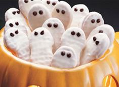Nutter Butters dipped in white chocolate for Halloween.