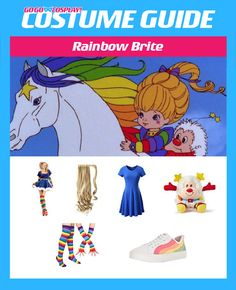 Rainbow Brite Costume - DIY Cosplay with Wig and Dress Halloween Outfits, Holidays Halloween, Halloween Costumes, Halloween 2019, Halloween Makeup, Halloween Ideas, Diy Costumes, Costume Ideas, Cosplay Diy