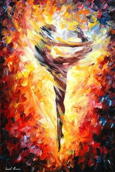 """Figure Painting — Dance Of Love — PALETTE KNIFE Modern Nude Art Oil Painting On Canvas By Leonid Afremov - Size: 20"""" x 30"""" (50 cm x 75 cm):"""