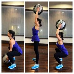 A great total body workout exercise with soft medicine ball - squats and abs