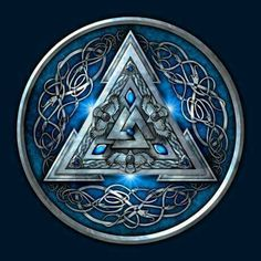 Shop Blue Norse Valknut viking t-shirts designed by NaumaddicArts as well as other viking merchandise at TeePublic. Norse Pagan, Viking Symbols, Norse Mythology, Wiccan, Viking Life, Viking Art, Viking Warrior, Viking Shield, Norse Tattoo