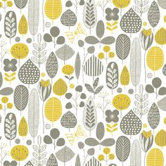 Park yourself in the middle of this retro pattern of leaves and flowers. The neutral color palette of maize and smoky gray is soothing, yet upbeat. Hang this whimsical design anywhere - from a kid's room to a kitchen. Flower Illustration Pattern, Illustration Blume, House Illustration, Motifs Textiles, Textile Patterns, Print Patterns, Wallpaper Wall, Pattern Wallpaper, 1950s Wallpaper