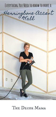 DIY herringbone wall, herringbone wall, chevron, c Accent Wall Bedroom, Bedroom Decor, Bedroom Ideas, Master Bedroom, Kitchen Accent Walls, Pallet Accent Wall, Accent Walls In Living Room, Bedroom Makeovers, Bedroom Girls