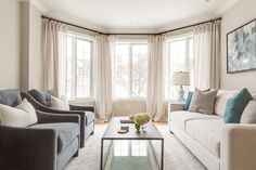 Soft neutrals for this living room design. Kirkland Home Renovation - Hibou Design & Co.