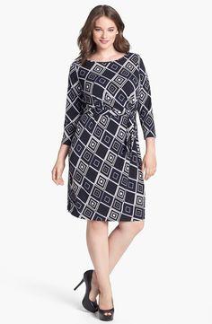 Anne Klein Print Faux Wrap Jersey Dress (Plus Size) | Nordstrom