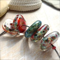 Lampwork glass boro beads handmade by Lori Lochner by LoriLochner, $34.00