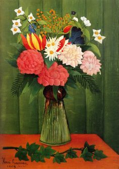 Henri Rousseau Bouquet of flowers with an ivy branch 1909