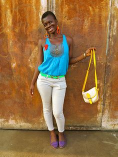 Big Picture - Africa: woman in blue top and beige trousers Color Blocking, Colour Block, Taxi Driver, Pictures Of The Week, African Design, West Africa, Sierra Leone, Blue Tops, Dapper