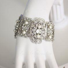 Wedding Bracelet Cuff Statement Bridal Bracelet Pearl and Crystal Swarovski Wide Bracelet Vintage Wedding Jewelry LEILA CUFF
