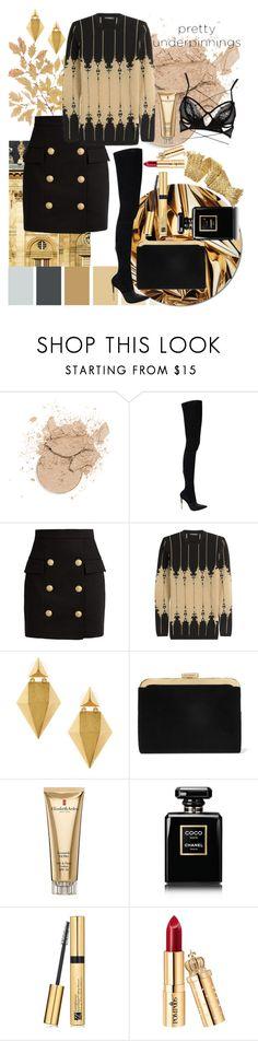 """golden"" by senia17 ❤ liked on Polyvore featuring Balmain, Stephanie Kantis, Elizabeth Arden, Chanel and Estée Lauder"