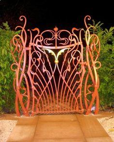 Art Nouveau and Art Deco, Some Art Nouveau Gates Art Deco, Art Nouveau Design, Tor Design, Gate Design, Metal Gates, Wrought Iron Gates, Garden Gates And Fencing, Yard Fencing, Gabion Fence