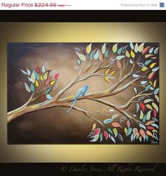 Birds On Branches Canvas | Bird on a Branch painting on canvas huge art 36 x 24. $191.24, via ...