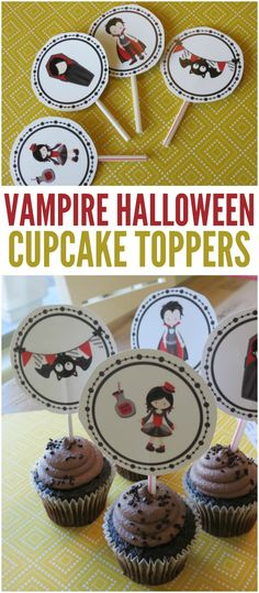 Make your spooky cupcakes a little bit cuter with these adorable vampire Halloween cupcake toppers. Print them at home for cute treats in a pinch!