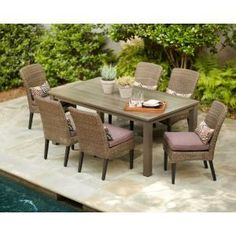 Hampton Bay Walnut Creek Durawood Patio Dining Table-2160000009 at The Home Depot